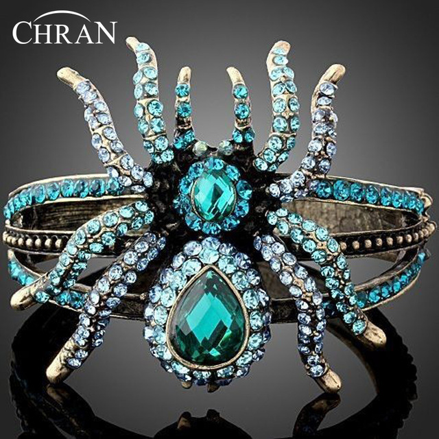 Chran Wholesale Gold Plated Rhinestone Luxury Brand Design New Spider Bracelets Bangles Fashion Women Punk Jewelry Accessories