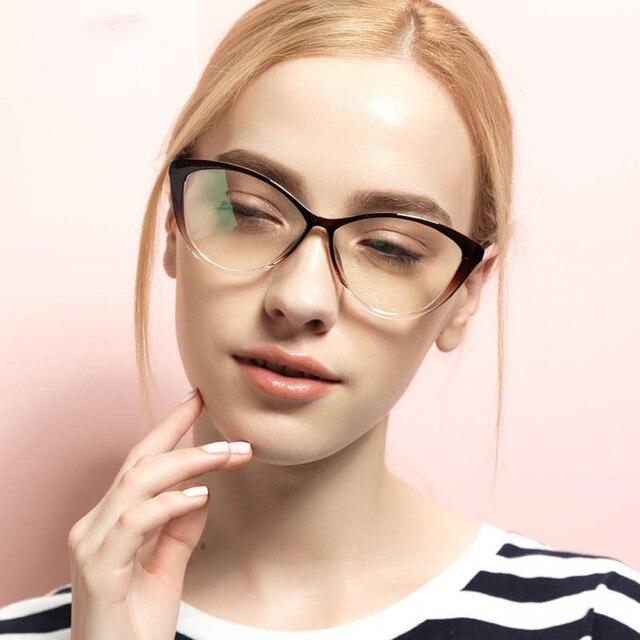 7001ef0a2 جديد أزياء النساء الرجعية القط العين النظارات إطارات واضح عدسة خمر TR90  مشهد بصري نظارات بمادة