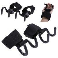 2019 nuevo 1 Pza soporte de muñeca negro correas de elevación ajustable de acero agarre de gancho correas de levantamiento de peso fuerza entrenamiento gimnasio Fitness