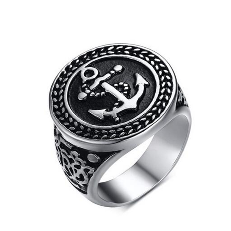 2016 New Design Anchor Ring Men Vintage Punk Ring Stainless Steel Titanium Ring Utr8160 цены