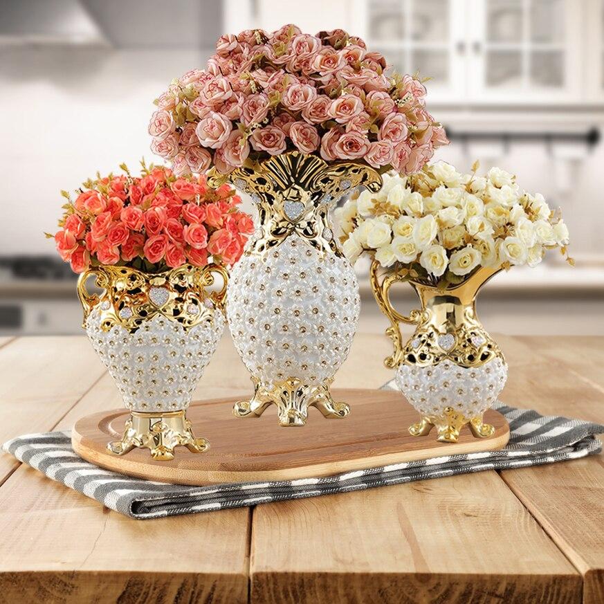 Europe Luxury High-grade Diamond Resin Vase+Artificial Flower Ornament Home Decoration Crafts Livingroom Flower Pot Figurine Art