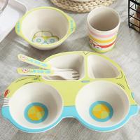 Children's Tableware Five Piece Set Car Bamboo Fiber Cartoon Compartmental Plate Cute Children's Rice Bowl Spoon Fork Cup