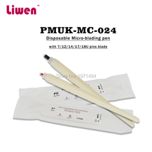 Top Quality 50pcs Permanent Makeup White Disposable Microblading Pens With 7/12/14/17/18U Pins Needles Embroidery Blades