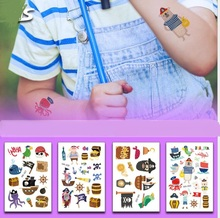 5Pcs Funny Environmentally Friendly Cartoon Pirate Temporary Tattoo Stickers Kids Treasure Hunt Fake Body Waterproof