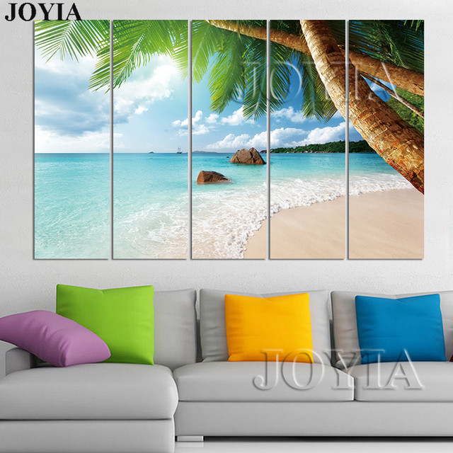 5 Canvas Beach Wall Art Decor Painting Picture 3 Pieces Photo Island Ocean Decorative Pictures