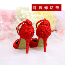 Red Pearl Lace Flower Wristband Bridal Shoes 10cm High Heels Pointed Toe Wedding Women Sandals(China)