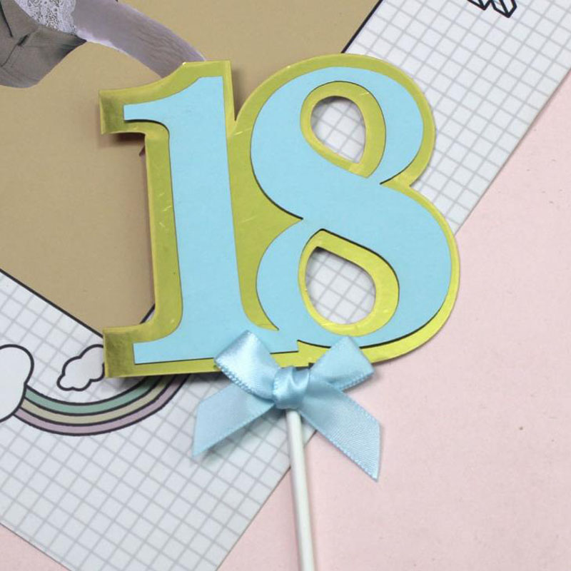 1 Pcs Cute Pink Blue Bow Number Cake 18 30 50 60 70 Birthday Number Happy Birthday Cake Cupcake Toppers Party Decoration Supply number