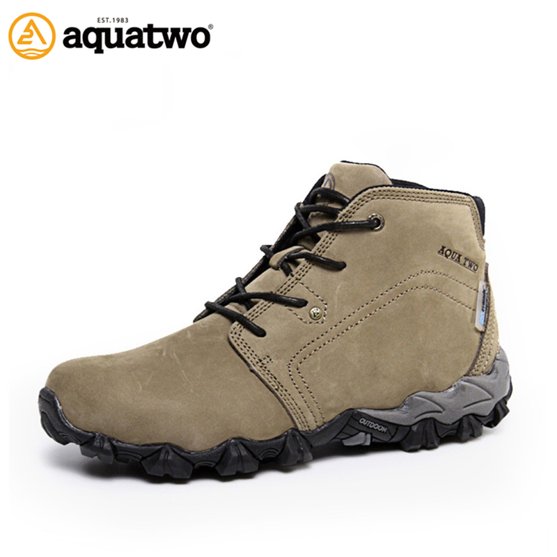 AQUA TWO Outdoor Camping Men Sports Hiking Shoes Genuine Leather Boots Walking Sneakers Wear-Resistance Lace-up Shoes ES-101022 winter men s outdoor warm cotton hiking sports boots shoes men high top camping sneakers shoes chaussures hombre