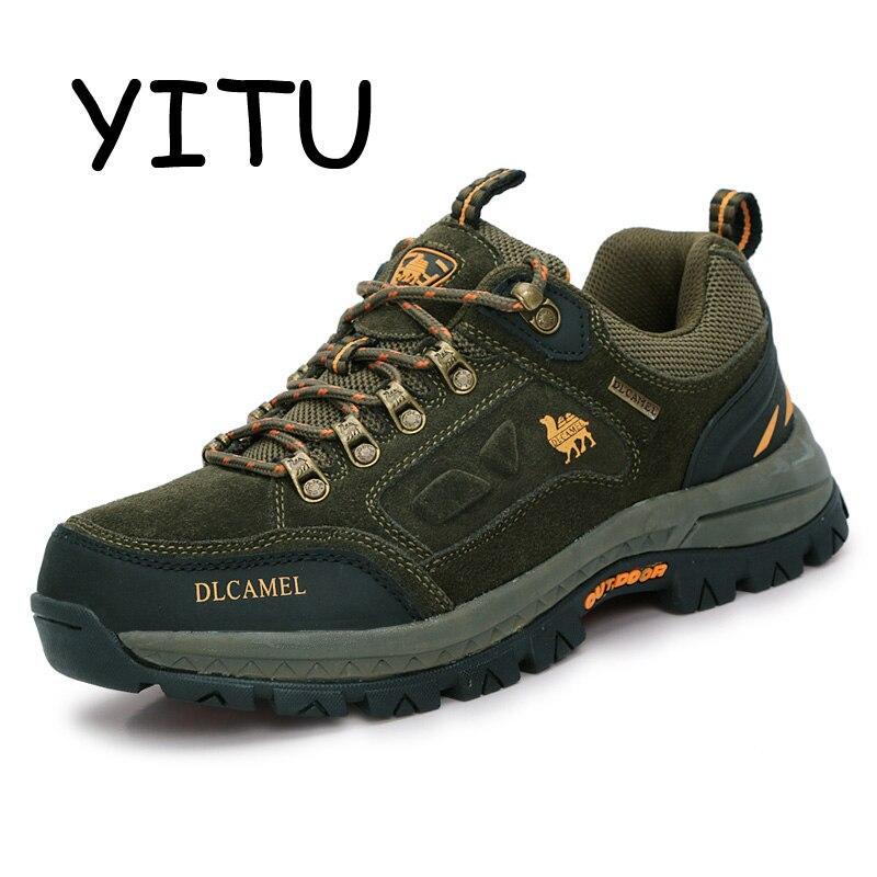YITU 2018 Trekking Sneakers En Plein Air Chaussures de Marque Respirant Bottes De Chasse Étanche Hommes Chameau Chaussures Montagne Escalade Bottes