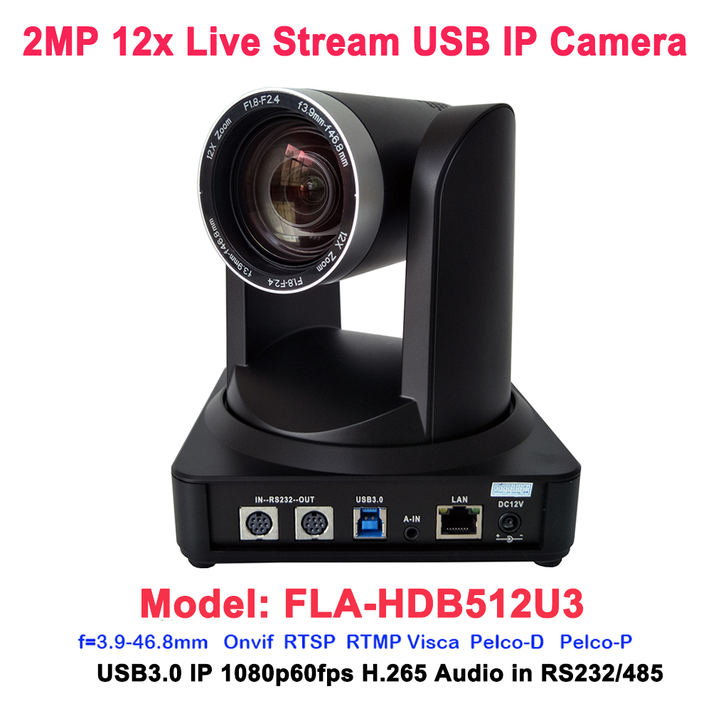 Black color 1080P 60fps H.265 RJ45 IP USB3.0 Live Stream Video Conferencing PTZ Camera 12x Optical zoom image