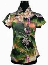 2014 New Arrival Green Women's Cotton Button Shirt Tops Slim Elegant Flower Blouse Chinese Tang Suit S M L XL XXL XXXL 4XL 2984