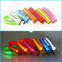 Fashion Flash Adjustable LED Nylon Cat Dog Collars Striped Glow Dog Harness Pet Collar Night Safe Pet Accessories Products