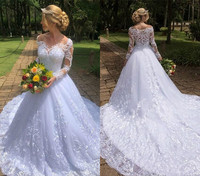 Off Shoulder Long Sleeves Wedding Dresses 2019 A Line Lace Appliques Country Garden Formal Bride Bridal Gowns Plus Size