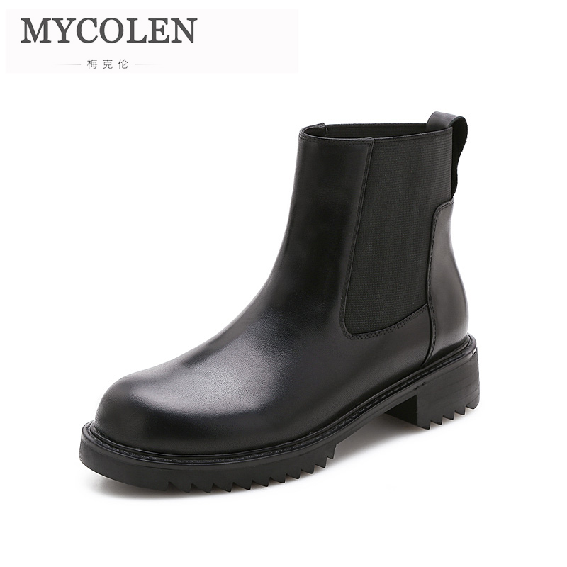 MYCOLEN 2018 new Fashion Ankle Boots Women Hot Skid-Proof Chunky Round Toe Shoes Woman Autumn Winter Woman Chelsea Boot 2017 new genuine leather elastic band chunky women ankle boot casual round toe anti skid spring autumn flat short boots zy170919