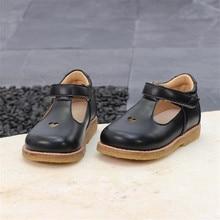New Black Children's School Leather Shoes Spring Princess Gi