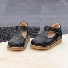 New Black Children's School Leather Shoes Spring Princess Gi