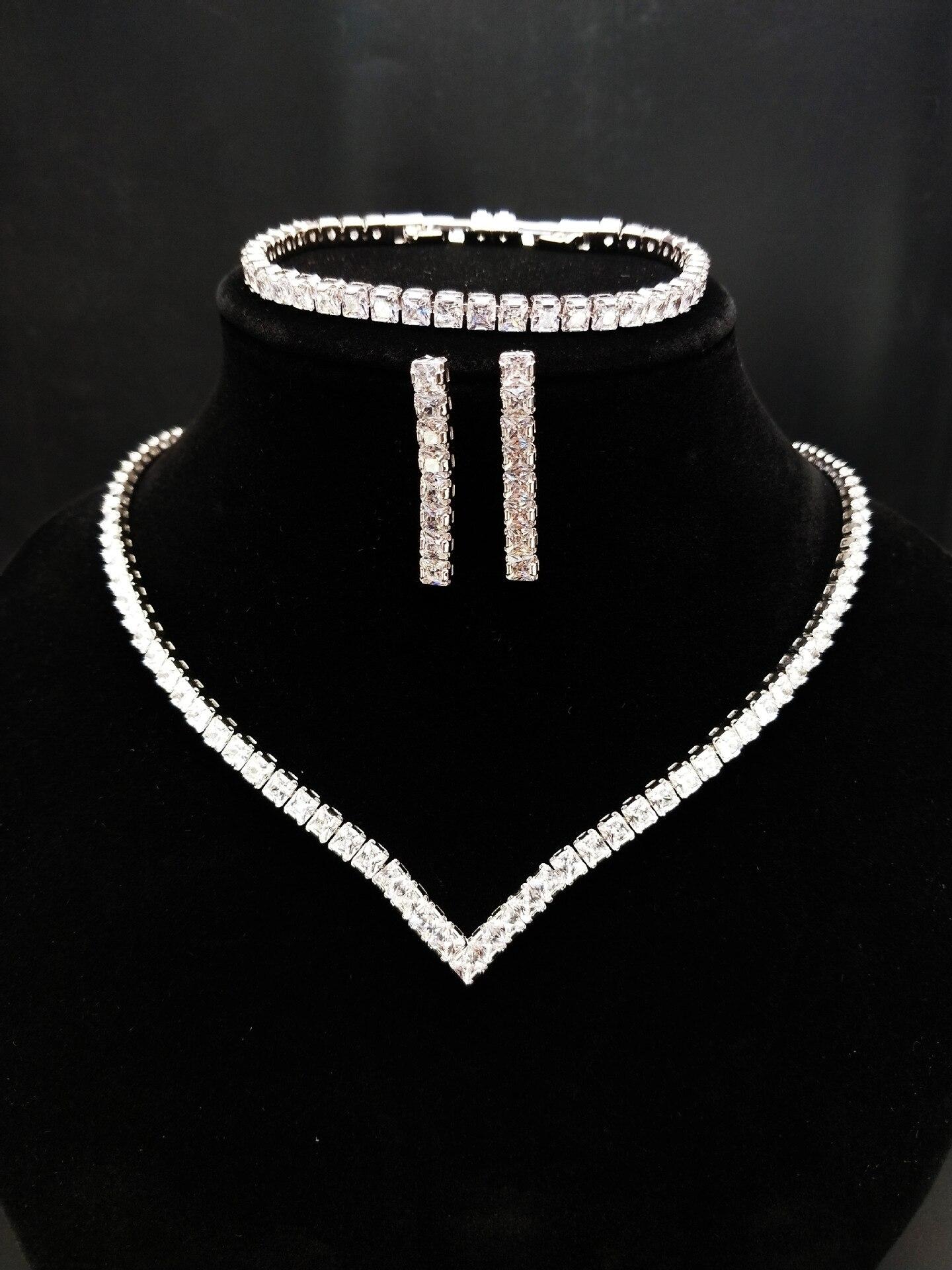 wedding jewelry sets cubic zircon Luxury earrings chokers necklace charm bracelet earrings 3pcs trendy bridal jewelry sets