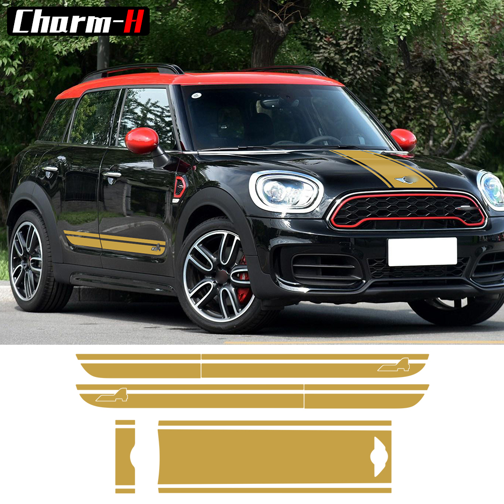 For BMW Mini Cooper S Countryman F60 2017 Hood Trunk Door Side Racing Stripe All4 Graphics Decal Stickers-5 colors набор приспособлений для обслуживания грм двигателя bmw n12 mini cooper jonnesway al010079
