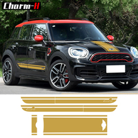 For BMW Mini Cooper S Countryman F60 Hood Trunk Door Side Racing Stripe All4 Graphics Decal Stickers Car Styling Accessories