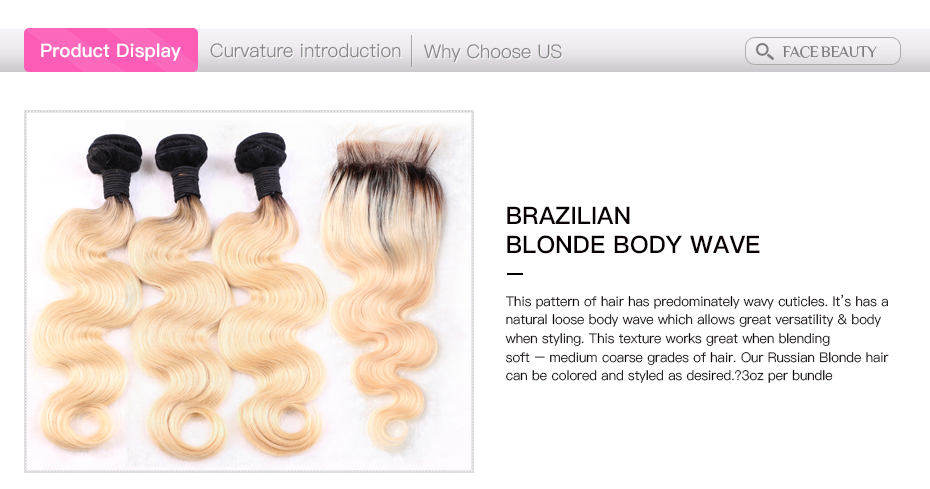 HTB1eY9Mj nI8KJjSszgq6A8ApXaS Facebeauty Brazilian Human Hair 2 Tone Dark Roots Ombre Blonde Hair 3 Bundles With Lace Closure 1B/613 Body Wave Color Hair Weft