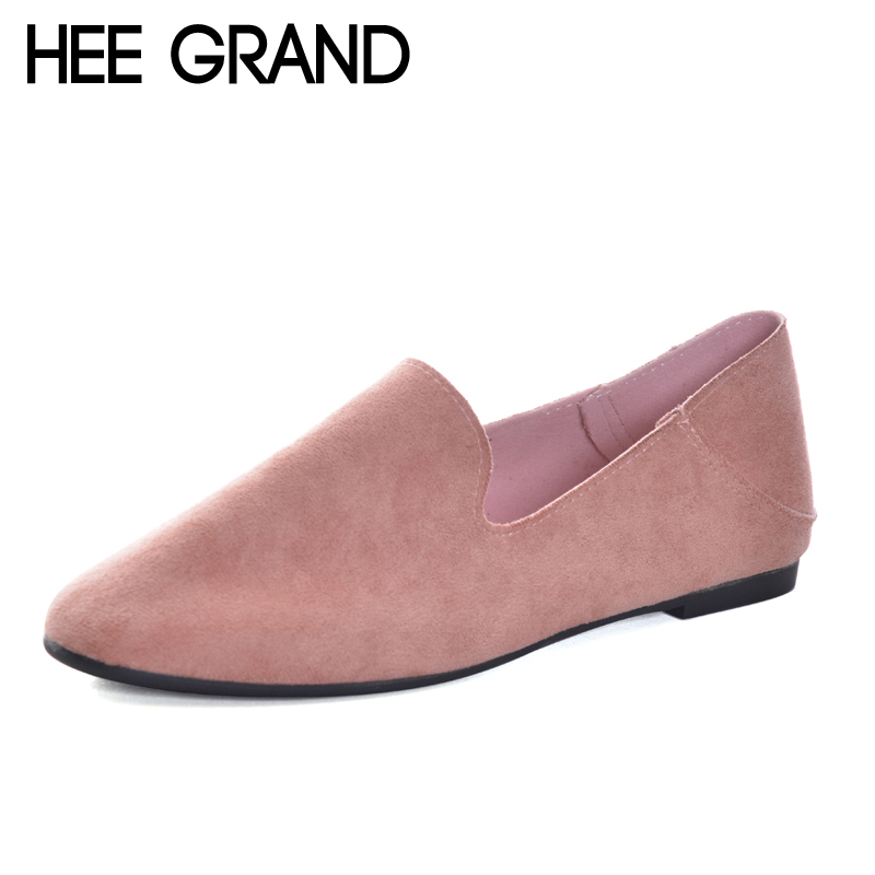 HEE GRAND Women Flats Soft Leather Flock Vamp Women Causal Shoes Slip-on Footwear for Ballet Flats ladyshoes XWD5986