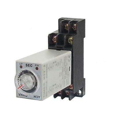 DC24V/DC12V/AC110V/AC220V  H3Y-2 0-30S DPDT 8 Pins Power on Time Delay Relay w Socket knob control dc24v dc12v ac110v ac220v 8p dpdt 5s seconds timer time delay relay w socket h3y 2