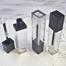 7ml כיכר איפור נוזל ריק שפתון גלוס צינורות באיכות גבוהה שקוף אריזות קוסמטיות מיכל 20 יח\חבילה