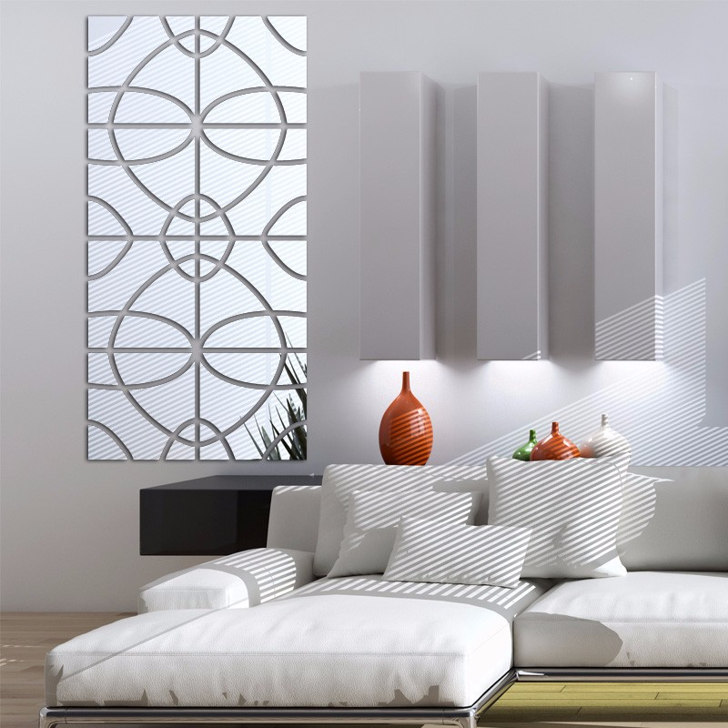 4 Sets of lot home decor 3d wall sticker decorative mirror ...