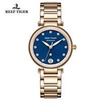 Reloj Mujer Reef Tiger/RT 2019 Top Brand Luxury Women Watch Rose Gold Ladies Diamond Bracelet Watches Date Relogio Feminino