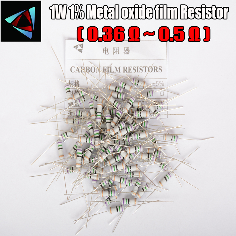 20pcs 5% 1W Metal Oxide Film Resistor 0.36 0.39 0.43 0.47 0.5 Ohm Carbon Film Resistor