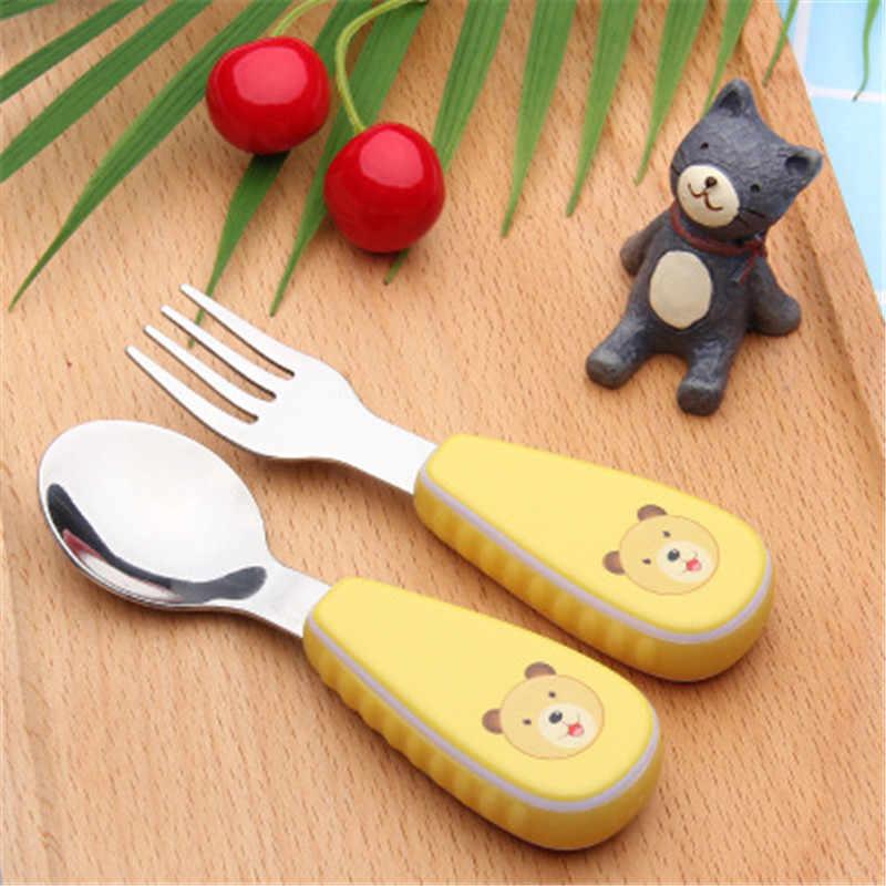 Малыш мягкий безопасный еда посуда для мальчиков и девочек мягкая ручка посуда для малышей 2 шт./компл. мультяшная ложка набор вилок столовые приборы Наборы товар для детей