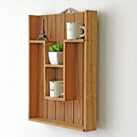 Zakka wood display Shelf stand Wall Holder kitchen Box Washroom Tray Door Rack Sundries gadgets wooden box desktop storage box