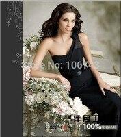 free shipping robe de soiree 2014 new design vestido de festa sexy one shoulder black long Formal Party gown evening dresses