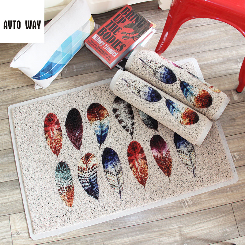 Creative feather PVC wire ring Door mat Doorway carpet Rub floor mat waterproof Non-slip rug Entrance plastic mats