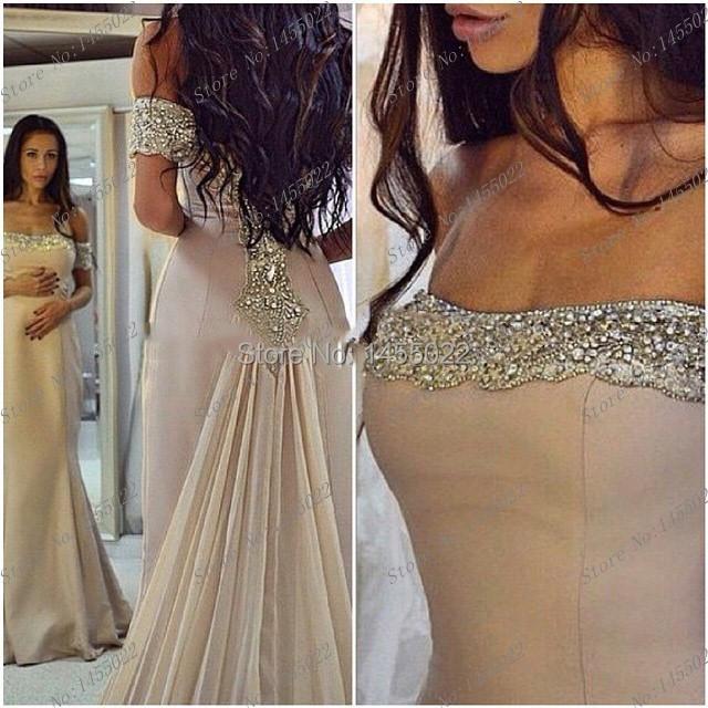 El envío Libre 2016 Nueva Llegada Abendkleider Sirena Crystal Prom Vestidos de Color Melocotón Vestidos De Baile de Plata Vestidos de Noche Largos
