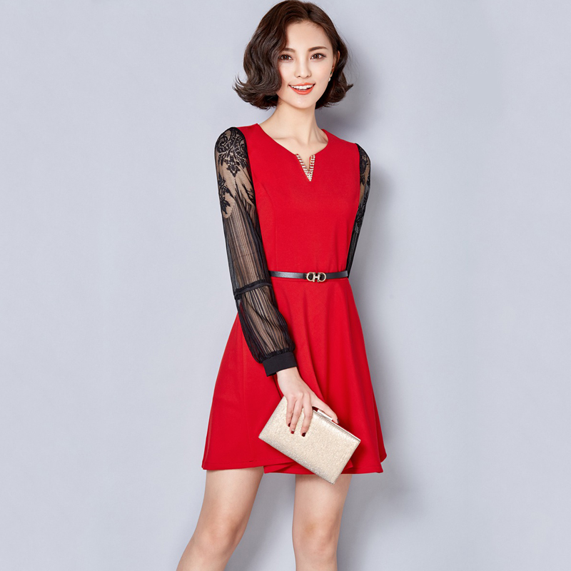 Women Lace Short Dresses 2016 Spring Casual V Neck Long Sleeve Splice Dress All Match -3390