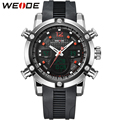 WEIDE Analog Digital Wristwatch Mens Luxury Brand Men Quartz Double Movement 3ATM Water Resistant Auto Date Alarm Stop Watch