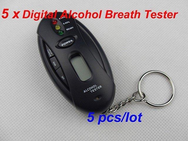 Free shipping 2011shenzhen china 5 pcs/lot Digital Alcohol Breath Tester Breathalyzer LCD