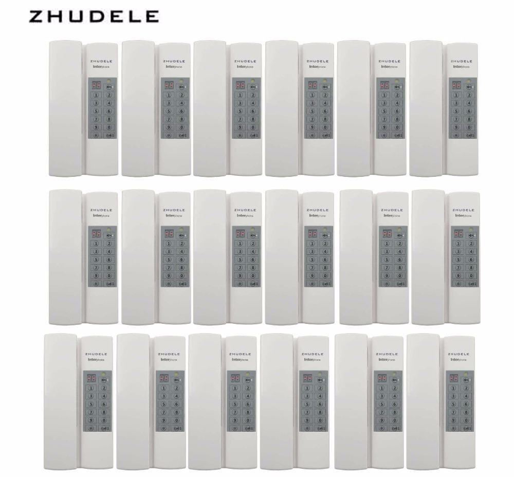 ZHUDELE Reasonable price Indoor safe&comfortable interphone system 18-handles w/t Broadcast/Group calling ,unlock (optional)