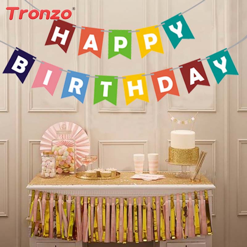 Tronzo 1 Set Happy Birthday Bunting Banner Gold Letter Pastel Paper Garland Hanging Flag Baby Shower Party Decoration Supplies