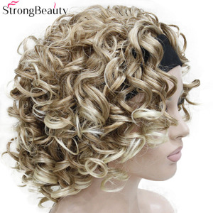 Image 2 - StrongBeauty Short Curly Synthetic Wigs with Headband Women Blue/Gray/Black/Red/Blonde/Brown Wigs 3/4 Half Wig for Lady