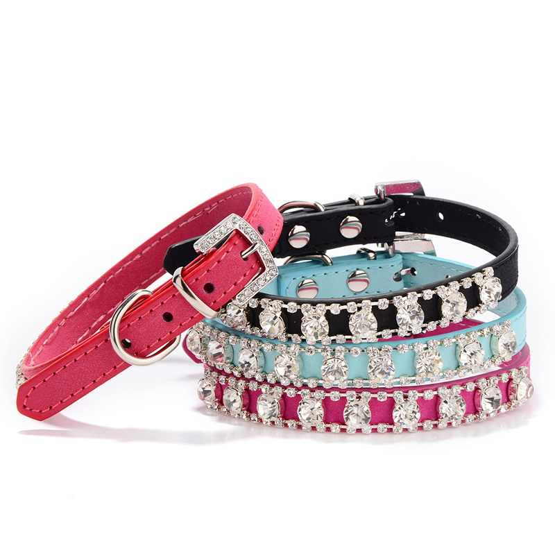 Leather Dog Collar Bandana Adjustable Black Red Blue Pet Puppy Collars Cachorro Bling Rhinestones Necklace Chihuahua Size XS,S