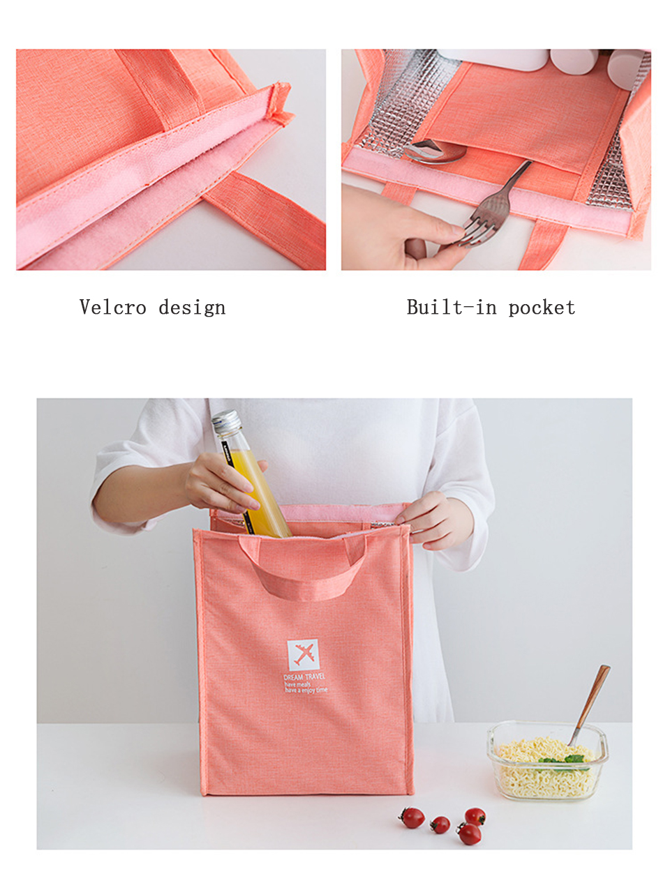 Portable Insulated Canvas lunch Bag Thermal Picnic Lunch Bags for Women kids Men Cooler Lunch Box Bag8