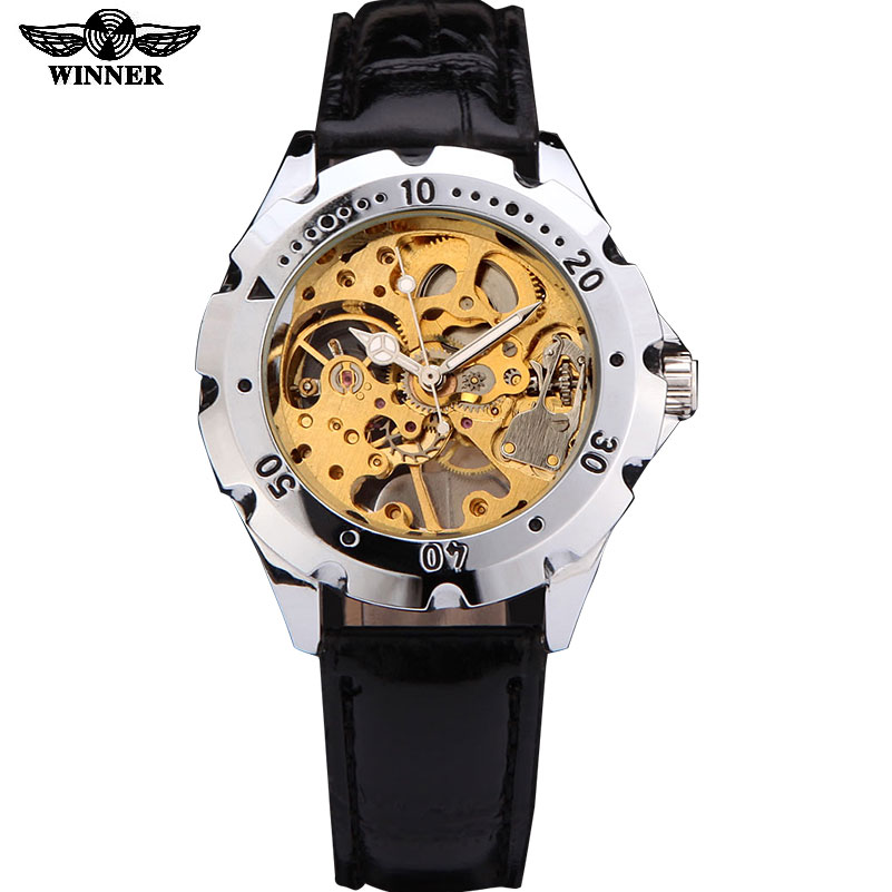 watches men luxury brand winner sports military skeleton wrist watch hand wind mechanical watch leather strap relogio masculino