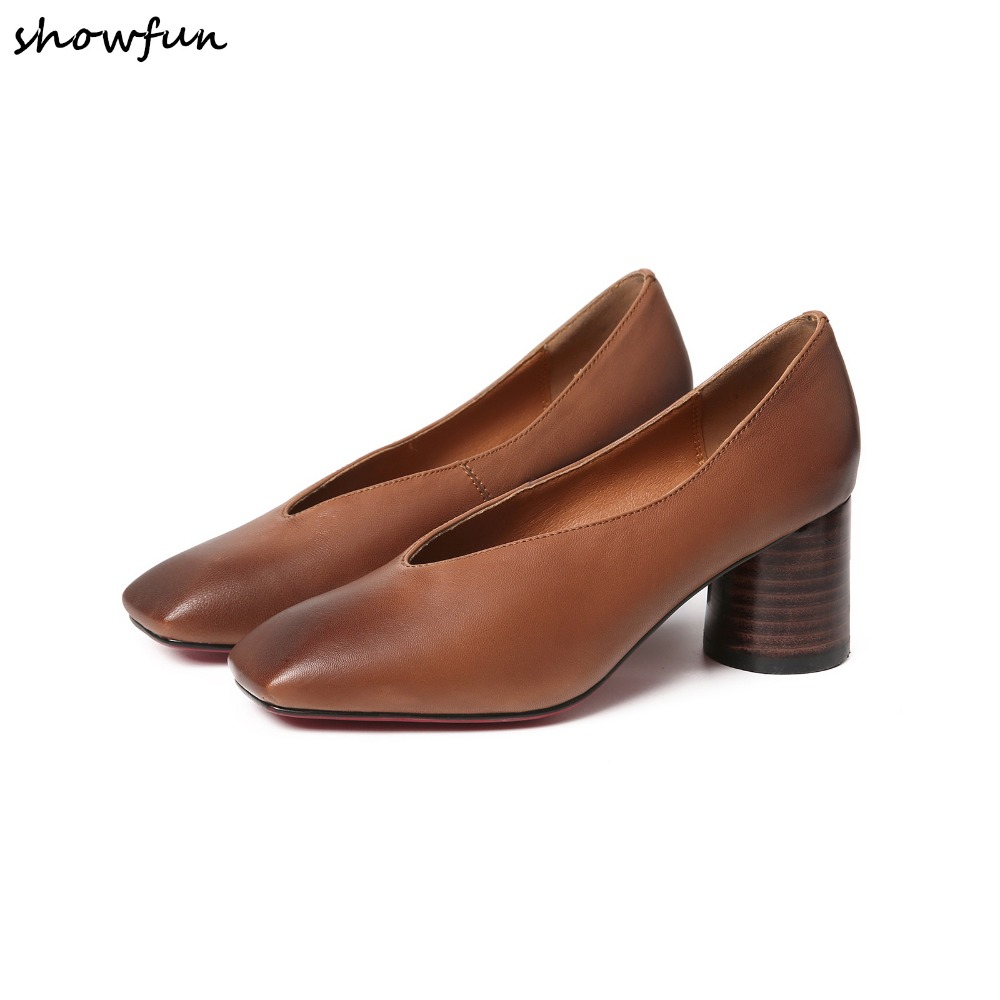 Womens pumps genuine leather slip-on med heel retro vintage high quality female heeled shoes plus size 33-40 female shoes saleWomens pumps genuine leather slip-on med heel retro vintage high quality female heeled shoes plus size 33-40 female shoes sale