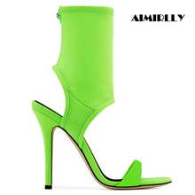 Aimirlly Women Ladies Shoes Open Toe High Heels Stiletto Sandals Slingback Ankle Wrap Fashion Summer Green