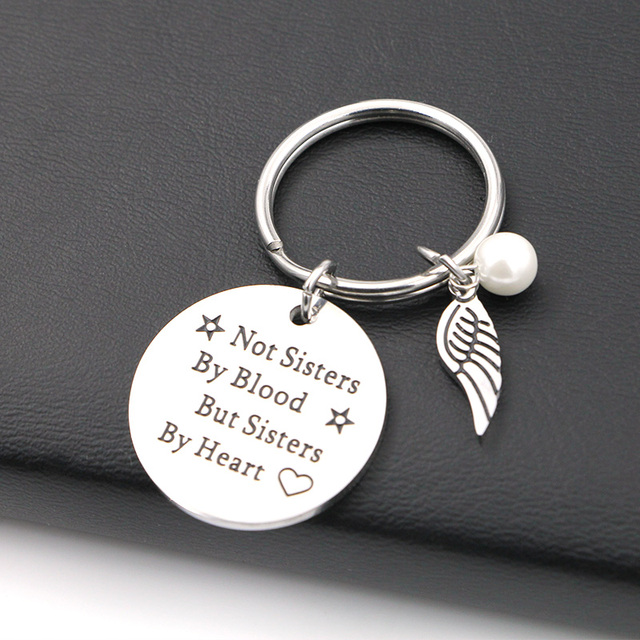 "VILLWICE Best friends keychain keyring ""not sisters by blood but sisters by heart"" friendship jewelry gift for women girls 1"