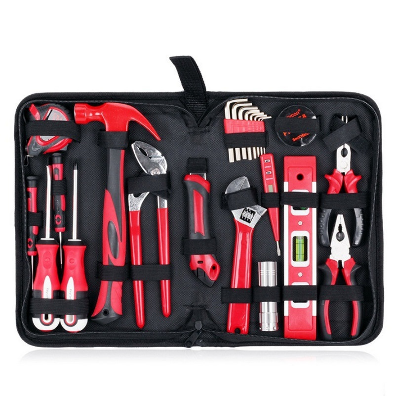 24pcs Household Tool Set For Repair Tools Kits Adjustable Wrench Screwdriver Hammers Pliers Knift A Set of Keys Hand Tool Set huguang multifunctional 32 46 94 120pcs ratchet wrench set of tools household tool kits hex key precise screwdriver bits set