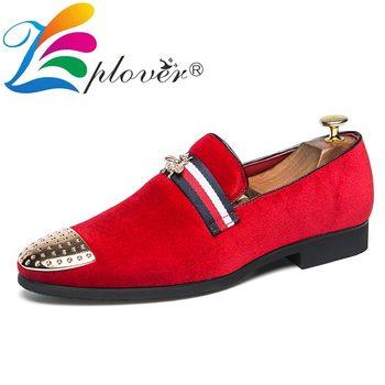 superior quality e4e24 d3651 Marke Männer Müßiggänger Schuhe Nieten Casual Schuhe Männer Designer Spitz  Samt Loafers Beleg Auf Party Flache Schuhe Mann Schuhe