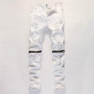 Image 4 - men trousers Man black red white jeans 2018 autumn men Casual Denim Pants Classic Cowboys Young hole zipper jeans Slim trousers